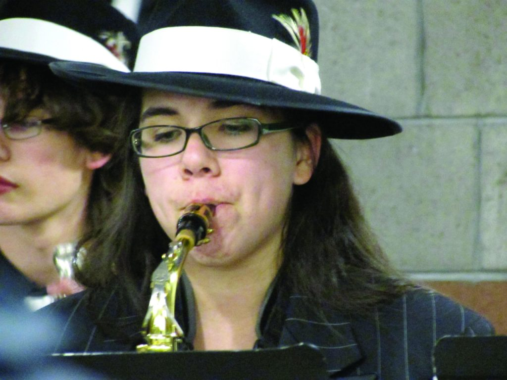 Kalika Pai, playing in Moriarty High School's jazz band last year. Photo by Regina Arguello.