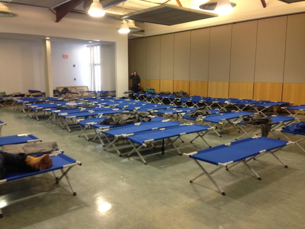 Cots were readied at the Moriarty Civic Center. Photo by Jace Alderson.