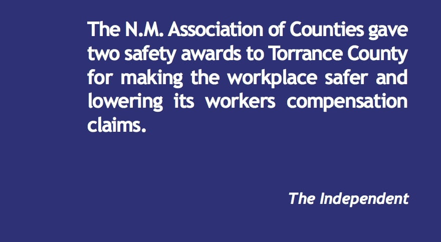 Torrance County recognized for safety