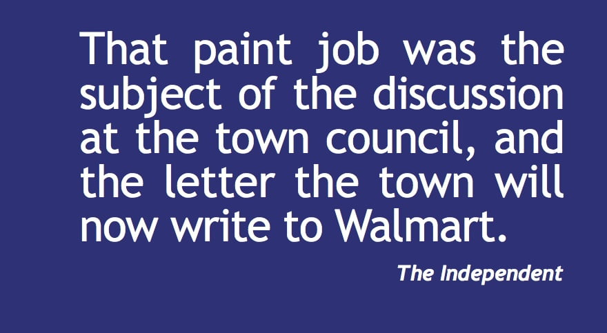 Town council: Letter about Walmart's color