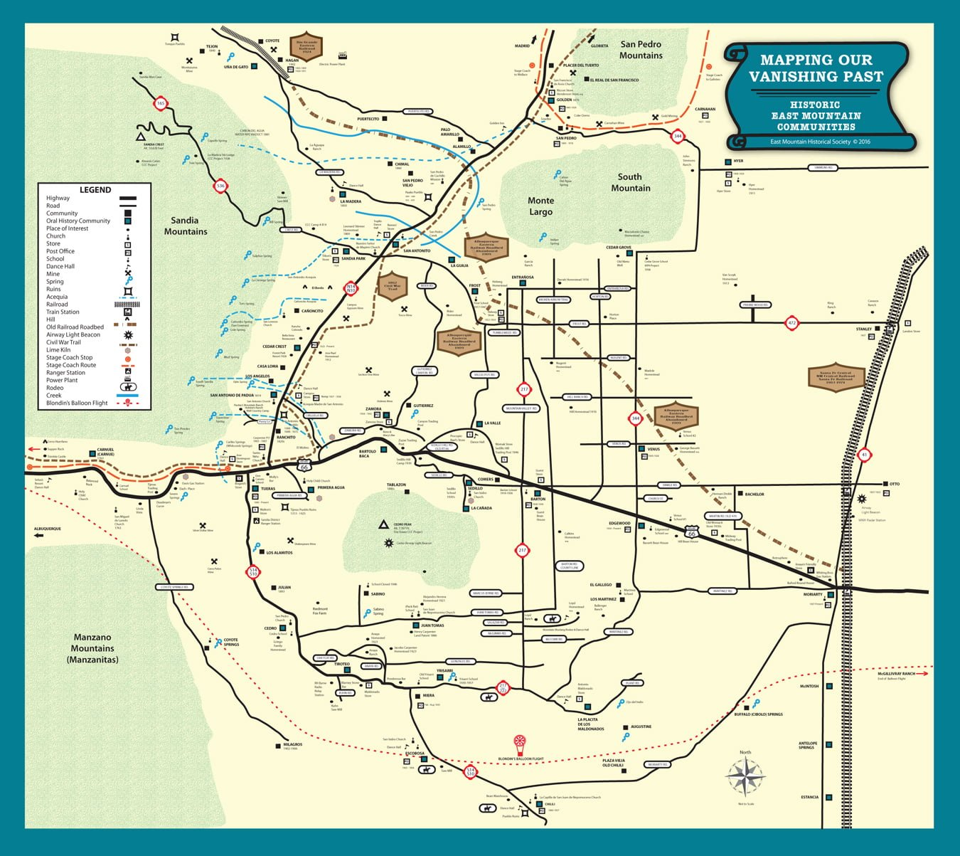 Map of Historic East Mountain sites on view at Tijeras Library