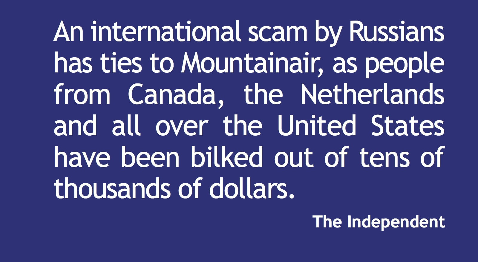 International scam: identity theft of Mountainair business