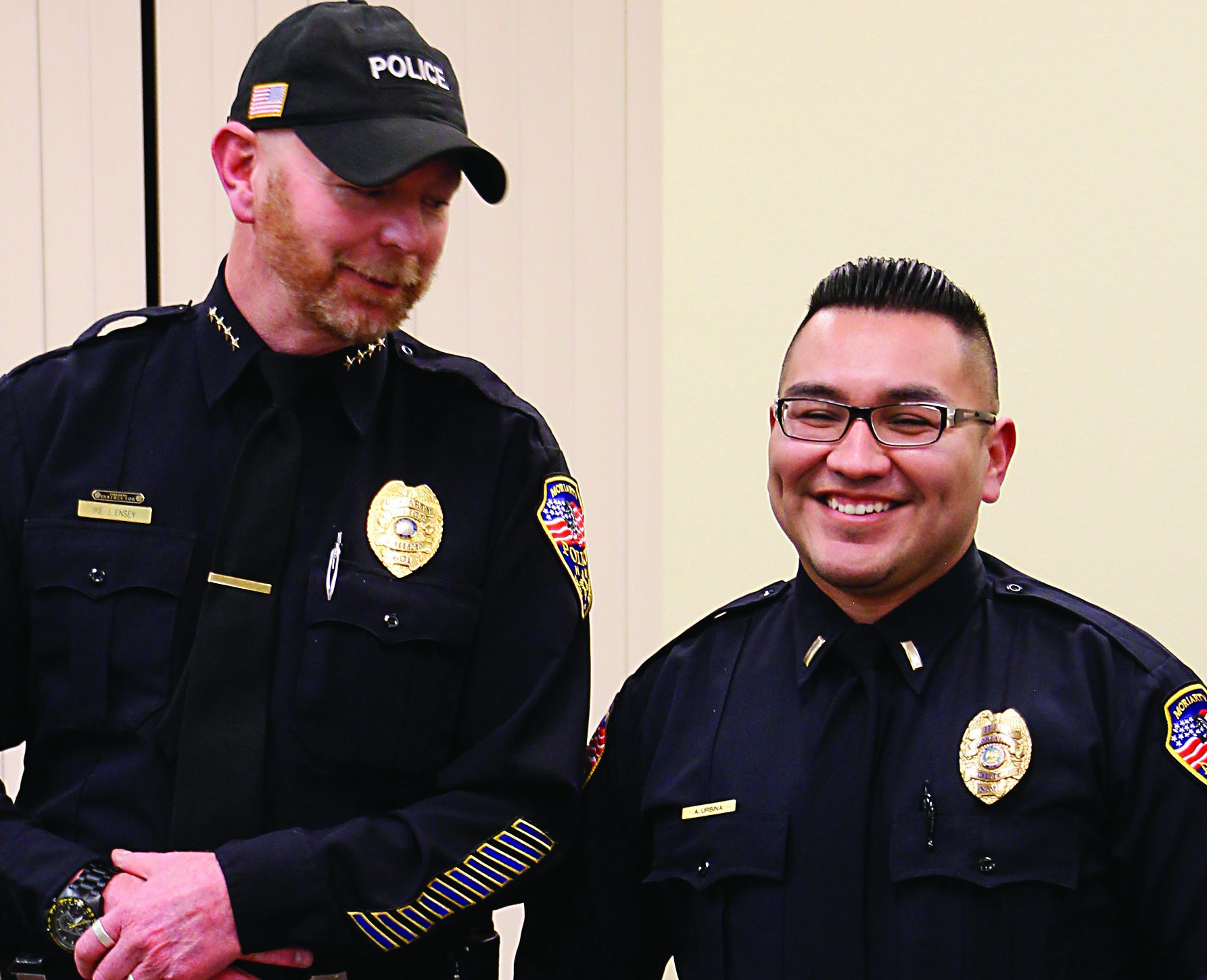 Urbina named Moriarty police chief; firefighters honored