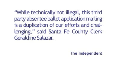 Non-Profit sent out ballot applications to NM voters