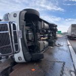 Two crashes, 10 semis, freeway still blocked