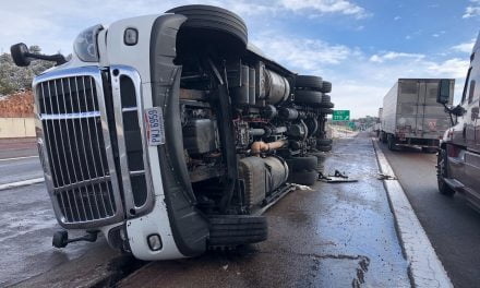 Two crashes, 10 semis, freeway just cleared