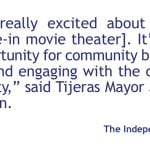 Village of Tijeras park and view cinema to premier