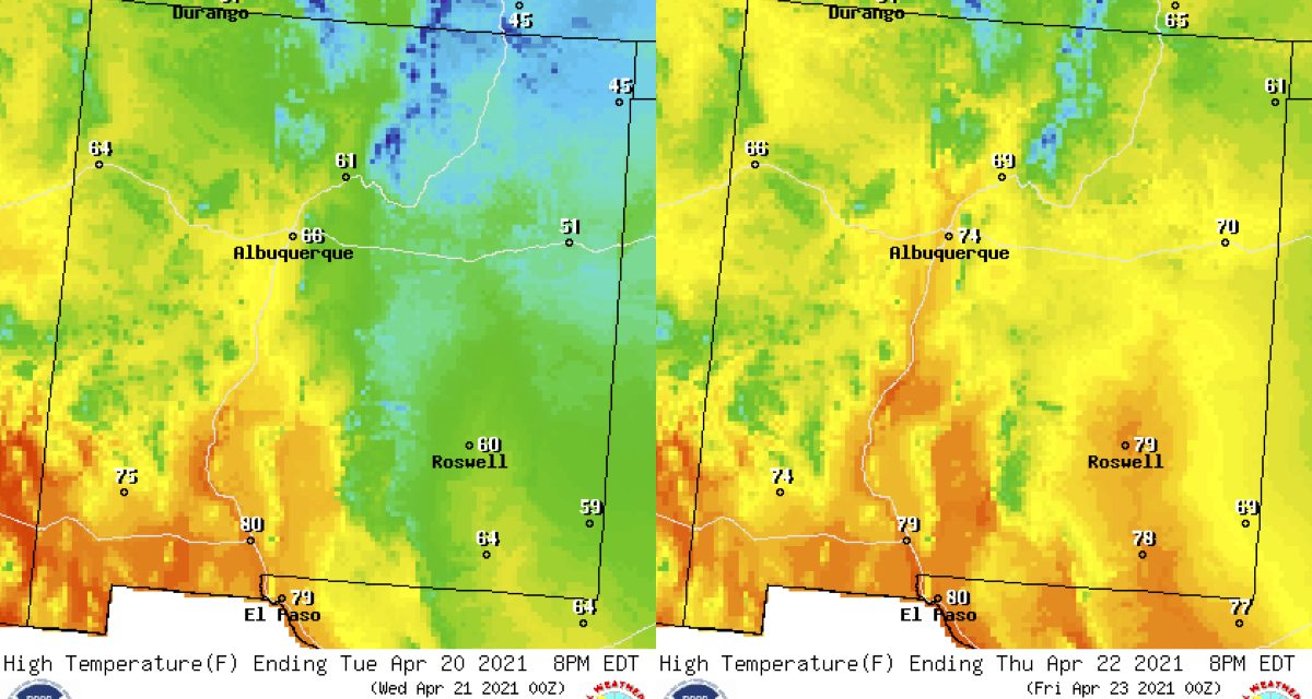 Forecast for the week of April 19 for the East Mountains and Estancia Valley
