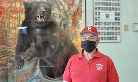 Estancia's new bear in his new high school lair